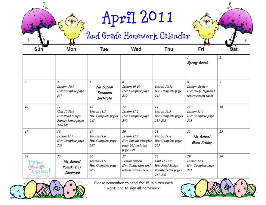 Homework Calendar  Pershing Nd Grade